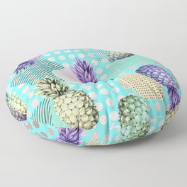 Pineapple Summer Rainbow Rose Gold Floor Pillow