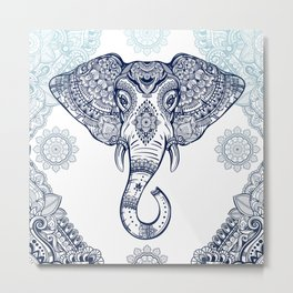 Bohemian Elephant Tribal Boho Gradient Blue Metal Print