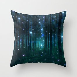 Glowing Space Woods Throw Pillow
