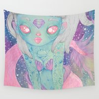 mermaid Wall Tapestries featuring Mermaid by lOll3