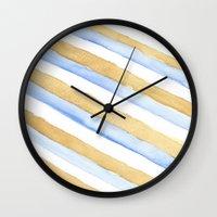 stripe Wall Clocks featuring Stripe by Louise Kjeldsen
