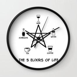 5 Elixirs coffee tea wine water kombucha Wall Clock