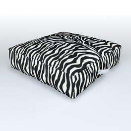 Wild Animal Print, Zebra in Black and White Outdoor Floor Cushion