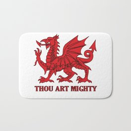 Thou Art Mighty Red Dragon Welsh Rugby Bath Mat