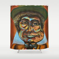 "louis armstrong Shower Curtains featuring Louis ""Pops"" Armstrong 