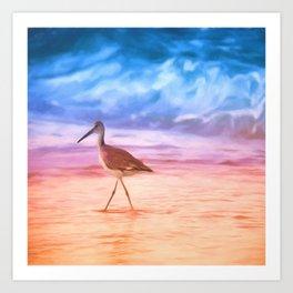 Sunrise Walking Bird Art Print