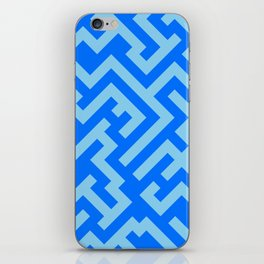 Baby Blue and Brandeis Blue Diagonal Labyrinth iPhone Skin