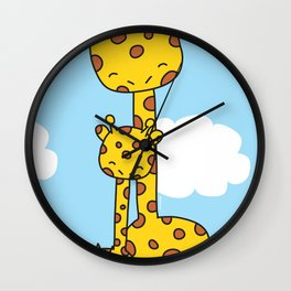 Giraffe Hugs Wall Clock