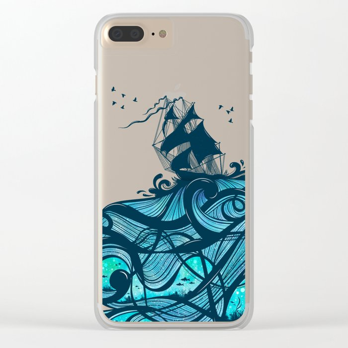 Upon The Sea Clear iPhone Case