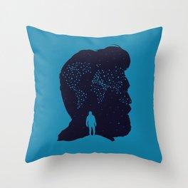 Stars Wolrd Map - Man Beard Silhoette Throw Pillow