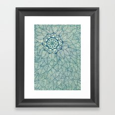 Emerald Green, Navy & Cream Floral & Leaf doodle Framed Art Print