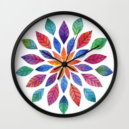 Rainbow Leaves Wall Clock