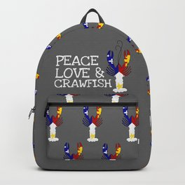 Peace Love & Crawfish: Gray Background Backpack
