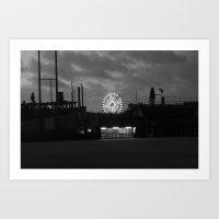 B/W Ferris Wheel Art Print