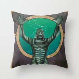 Creature From the Black Lagoon Nouveau Throw Pillow