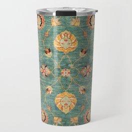 Oushak  Antique Gold Teal Turkish Rug Print Travel Mug