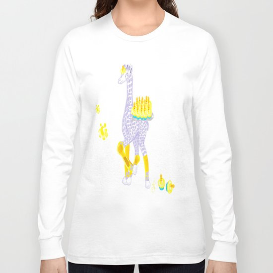 Birthdays are Coming - Midas is Ready - Christmas Lavender Giraffe Long Sleeve T-shirt