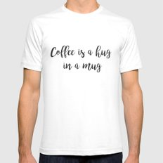 Coffee SMALL Mens Fitted Tee White