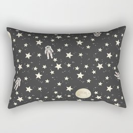 Space - Stars Moon and Astronauts on black Rectangular Pillow