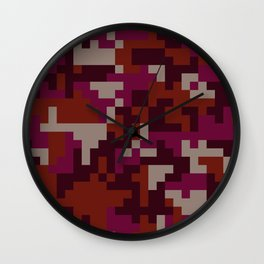 Red Pixel Camouflage pattern Wall Clock