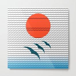 Sunrise birds and beach Metal Print