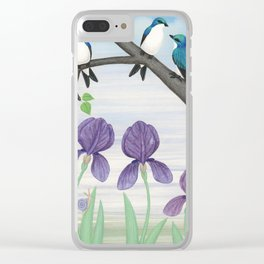 tree swallows & irises Clear iPhone Case