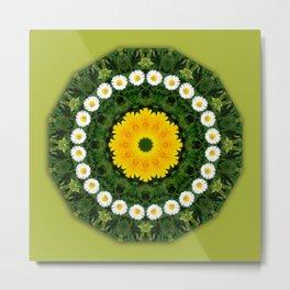 Daisies, Nature Flower Mandala, Floral mandala-style Metal Print