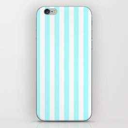 Narrow Vertical Stripes - White and Celeste Cyan iPhone Skin