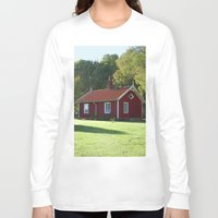 swedish Long Sleeve T-shirts featuring Swedish Cottage  by Sarah Osterman