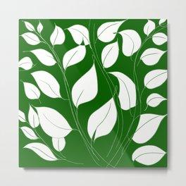 Leaves Pattern Easy Drawing Doodle Art Metal Print
