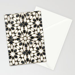 Black and white marble Moroccan mosaic Stationery Cards