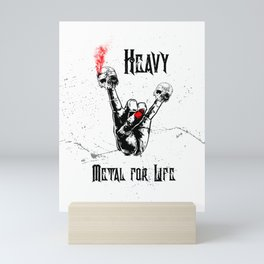 Skull Devil & Black Heavy Metal & Rock Horns Hand Mini Art Print