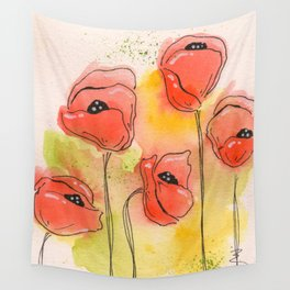 Coral Florals Wall Tapestry