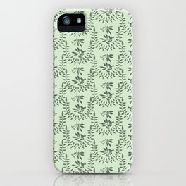 Green Nature Olive Leaf Berry Birds Branch iPhone Case