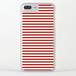 Red & White Maritime Small Stripes- Mix & Match with Simplicity of Life Clear iPhone Case