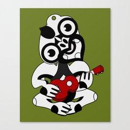 Black and Grey Hei Tiki playing a Ukulele Canvas Print