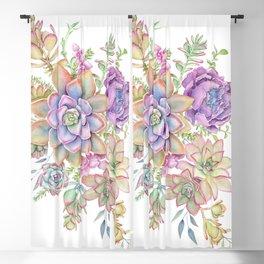 watercolor Succulents #88 Blackout Curtain