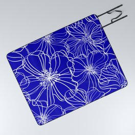 Flower Drawing, Blue and White Picnic Blanket