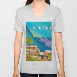 Machu Picchu, Peru - Skyline Illustration by Loose Petals Unisex V-Neck