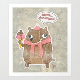 Icecream Bear Art Print