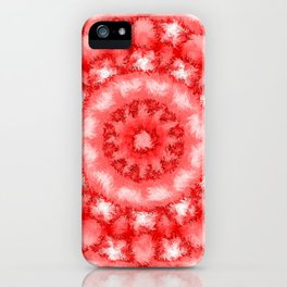 Kaleidoscope Fuzzy Red and White Circular Pattern iPhone Case