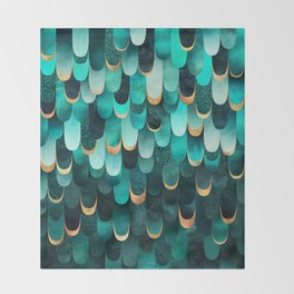 Feathered - Turquoise Throw Blanket