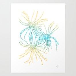 Sand Stars - Blue & Yellow Art Print