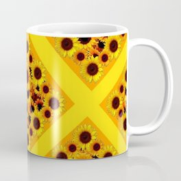 GOLDEN YELLOW SUNFLOWERS GRID PATTERN  DESIGN Coffee Mug
