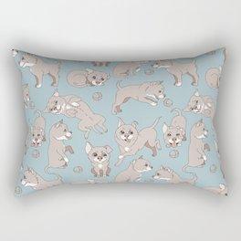 puppies playing ball Rectangular Pillow