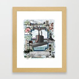 USS North Carolina - Pearl Harbor Submarine Service (Silver Dolphins) Framed Art Print