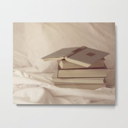books in bed Metal Print