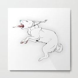 Wolfie does the jump Metal Print