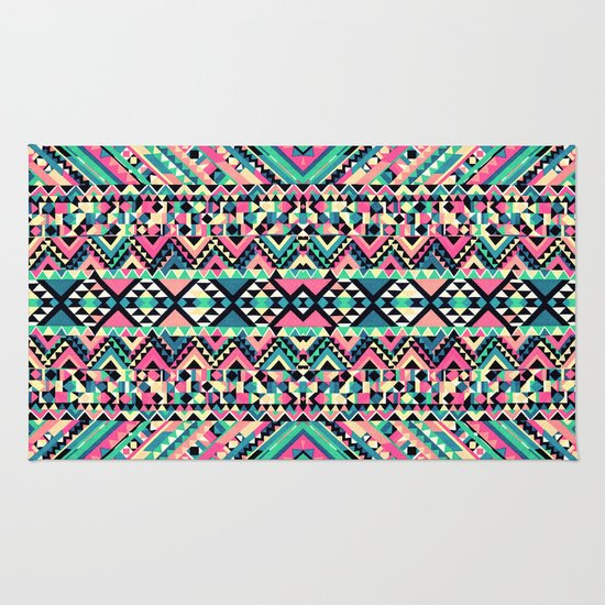 Pink Turquoise Girly Aztec Andes Tribal Pattern Rug