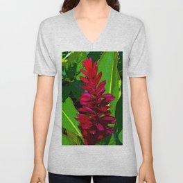 A fantastic tropical Red Ginger flower. Alpinia Purpurata. Common Name in Venezuela Pluma Roja Unisex V-Neck